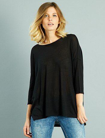 T-shirt fluide manches 3/4                                                                                         noir Femme