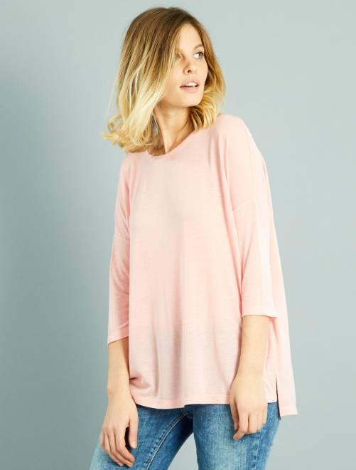 T-shirt fluide manches 3/4 rose Femme
