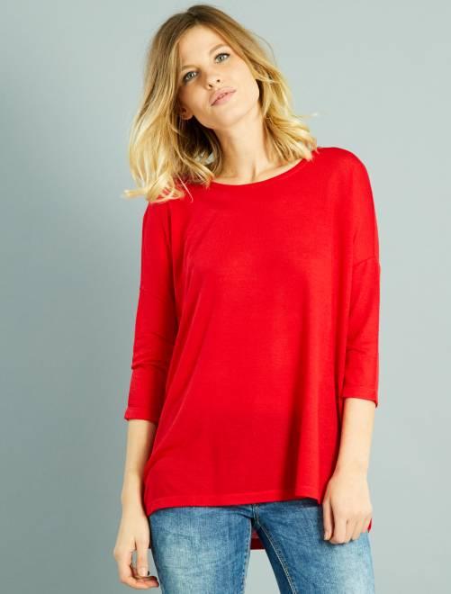 t shirt fluide manches 3 4 femme rouge kiabi 8 00. Black Bedroom Furniture Sets. Home Design Ideas