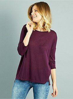 T-shirt, débardeur violet - T-shirt fluide manches 3/4 - Kiabi