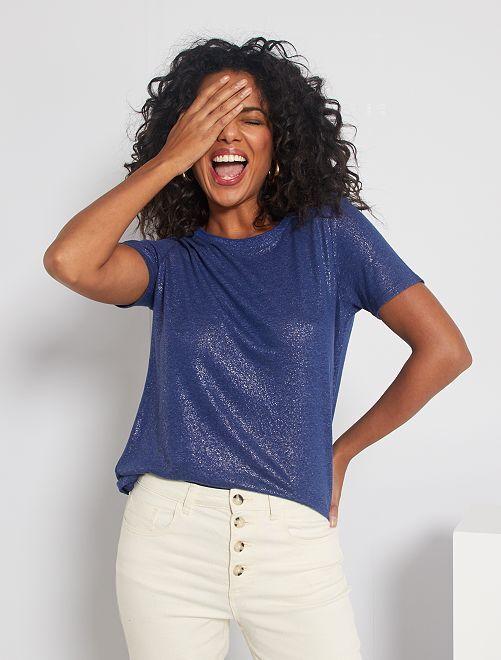 T-shirt fluide pailleté                                         bleu