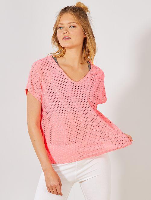 T-shirt fluo ajouré fantaisie                                                     rose fluo