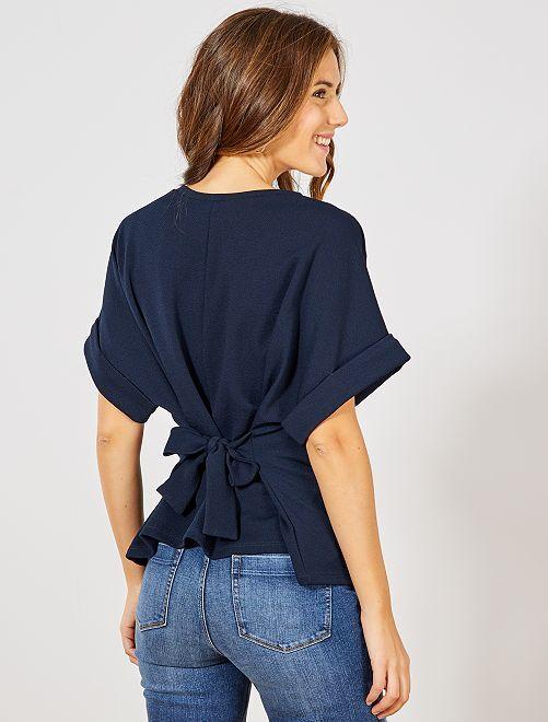 T-shirt forme kimono                             bleu marine