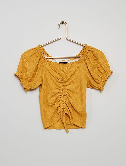 T-shirt froncé en maille gaufrée                                                     jaune