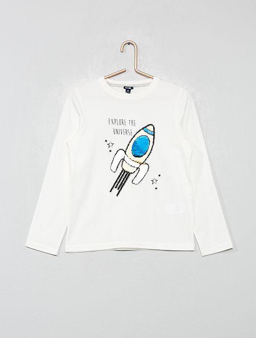 T-shirt 'fusée' sequins réversibles                                                     écru