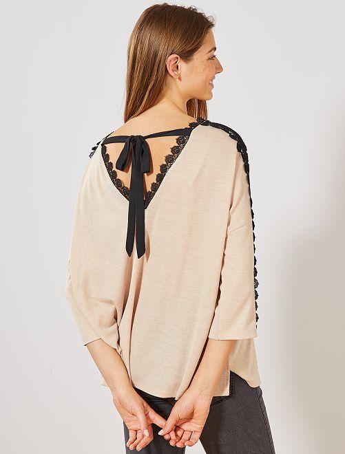 T-shirt galon dentelle                                                     beige Femme