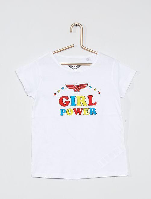 T-shirt 'Girl Power'                             blanc