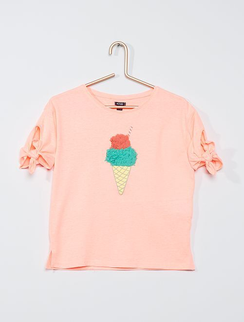 T-shirt 'glace' manches nouées                                                     rose fluo