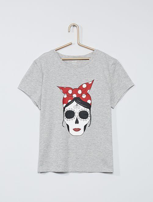 T-shirt 'Halloween'                                         gris