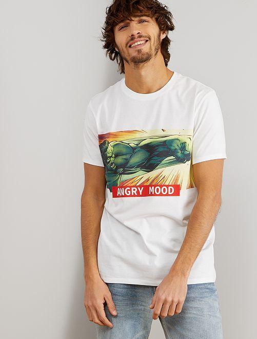 T-shirt 'Hulk'                                         blanc