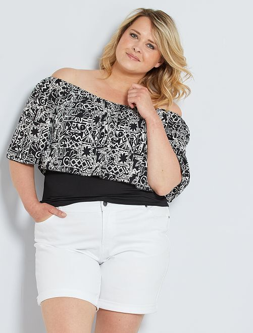 T-shirt imprimé à encolure Bardot                                         noir/blanc