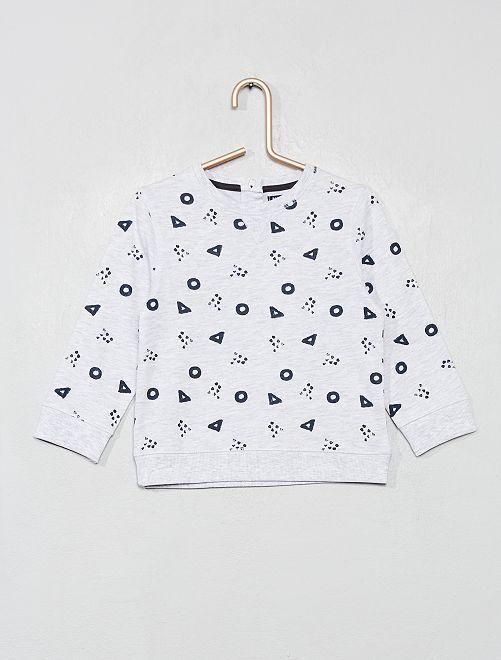 T-shirt imprimé à manches longues                                                                 gris