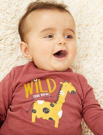 ca43c88296c23 Garçon 0-36 mois - T-shirt imprimé à manches longues - Kiabi
