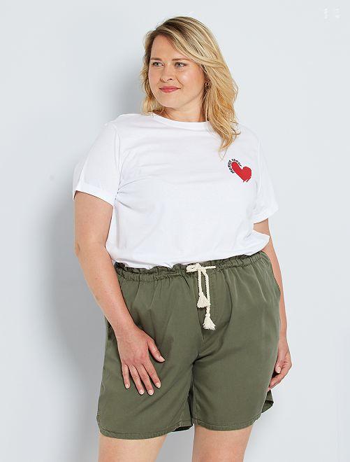 T-shirt imprimé à message                                                                 blanc coeur