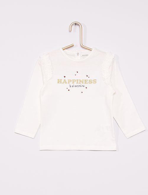 T-shirt imprimé à volants éco-conçu                                                     blanc