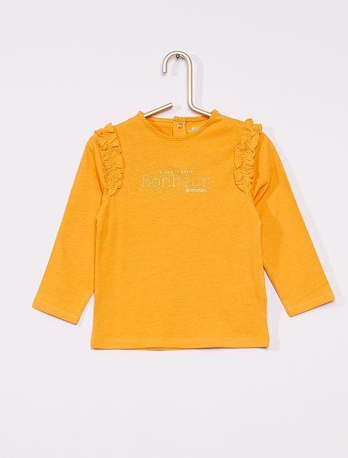 T-shirt imprimé à volants éco-conçu                                                     jaune