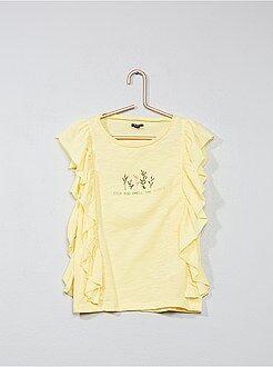 Fille 3-12 ans - T-shirt imprimé à volants - Kiabi