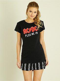 T-shirt, débardeur taille xs - T-shirt imprimé 'AC/DC' + strass - Kiabi