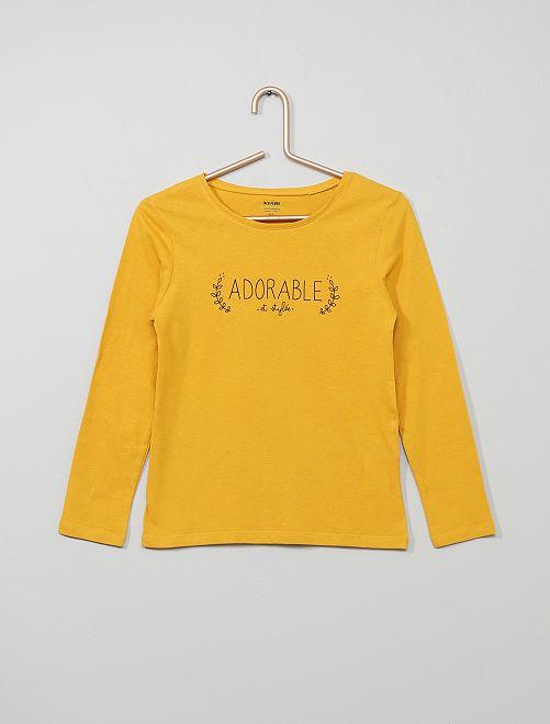 T-shirt  imprimé 'adorable' 'éco-conception'                                                                                                                                                                                                     jaune adorable