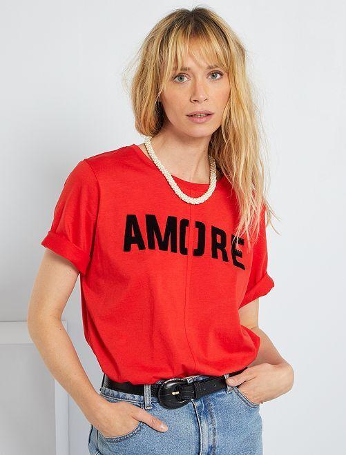 T-shirt imprimé 'Amore'                                         rouge
