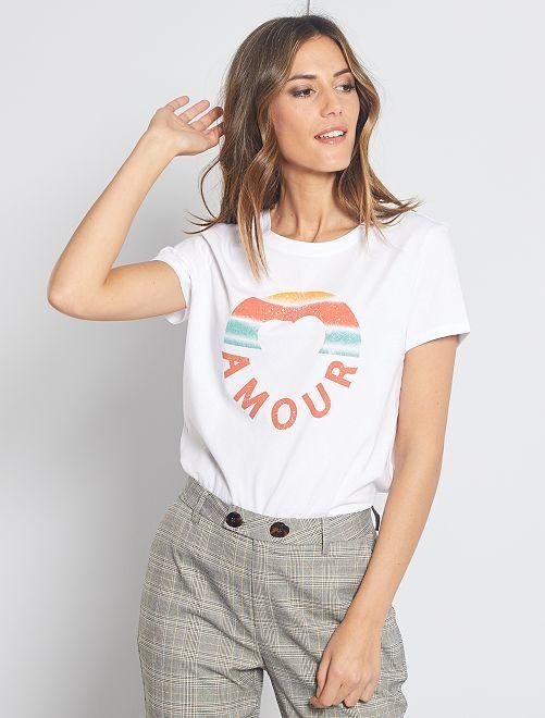 T-shirt imprimé 'Amour'                                                                                                                                                                                                                 blanc/amour