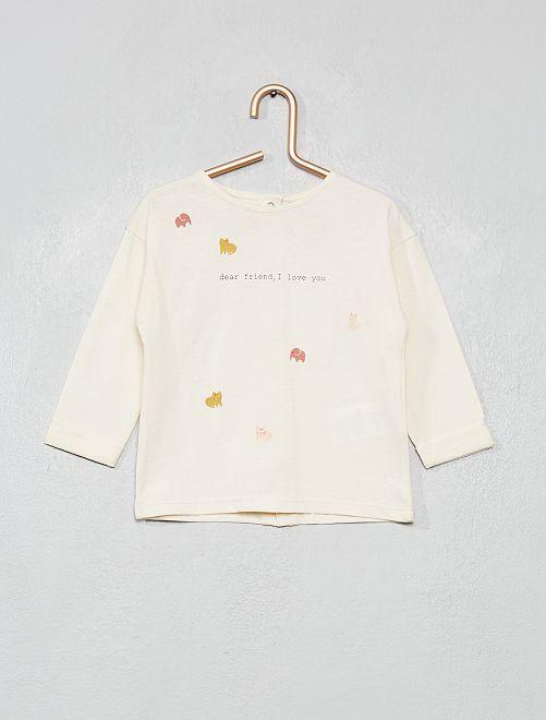 T-shirt imprimé 'animaux'                                         blanc cassé