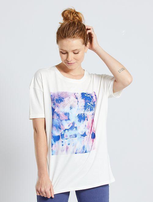 T-shirt imprimé 'aquarelle'                             écru