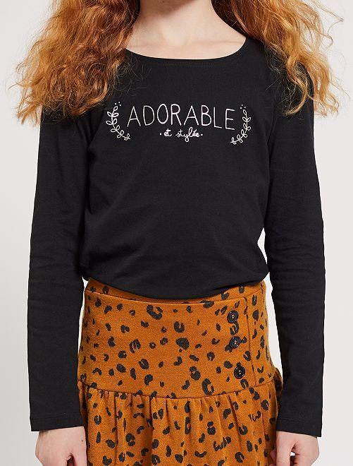 T-shirt imprimé argenté 'éco-conception'                                                                                         noir adorable