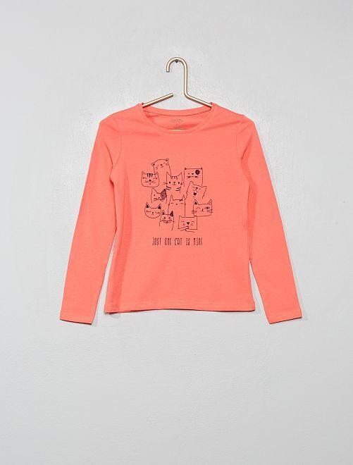 T-shirt imprimé argenté 'éco-conception'                                                                                                                                                                 rose chats