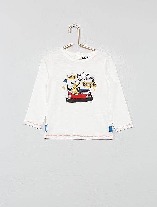 T-shirt imprimé 'auto-tamponneuse'                             blanc