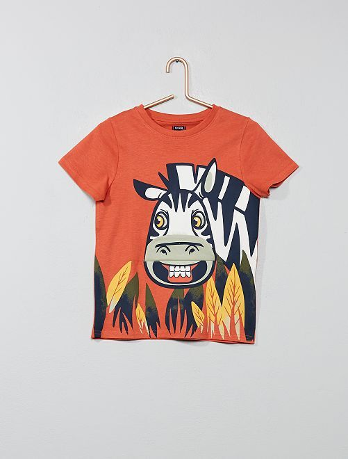 T-shirt imprimé avec animation                                                     orange