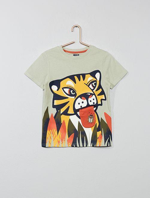 T-shirt imprimé avec animation                                                     vert Garçon