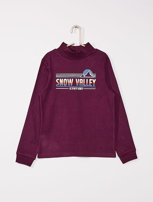 T-shirt imprimé avec col montant                                                     violet