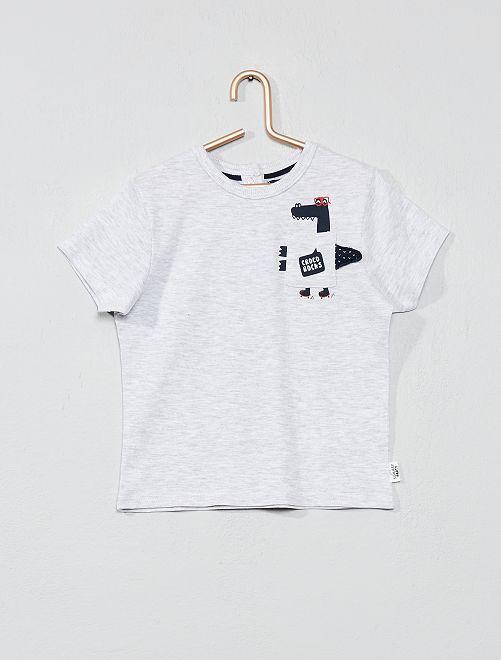 T-shirt imprimé avec poche animée                                                     gris chiné croco