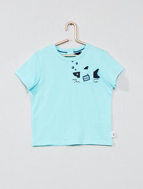 T-shirt imprimé avec poche animée                                 turquoise requin