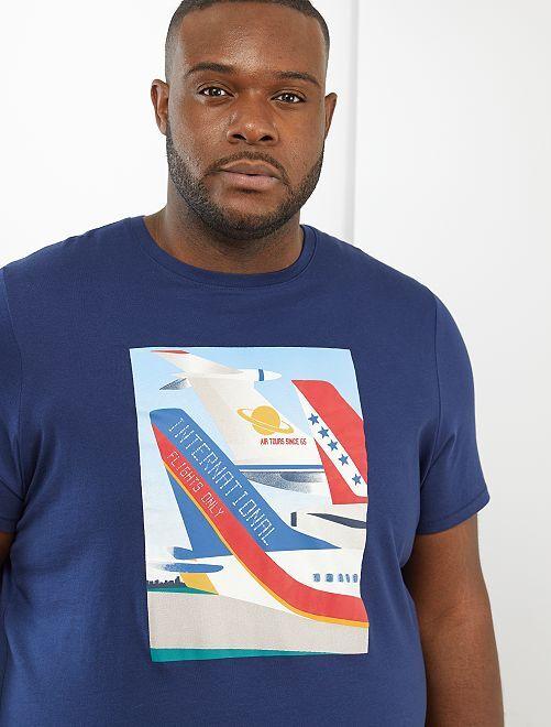 T-shirt imprimé avion                                         bleu marine