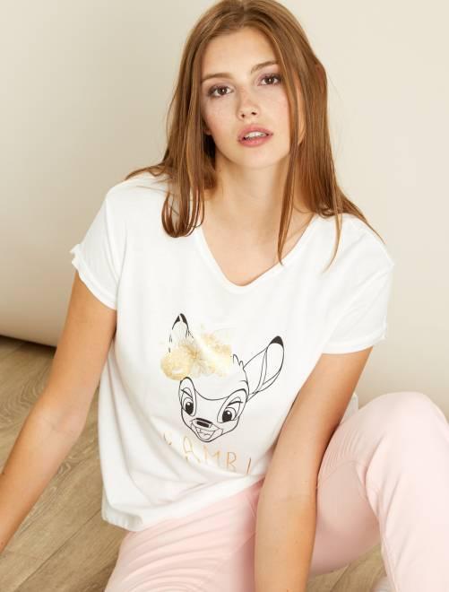 T-shirt imprimé 'Bambi'                             écru