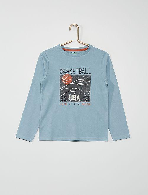 T-shirt imprimé 'basket-ball'                                                                                                                                                                                                                             bleu gris basketball