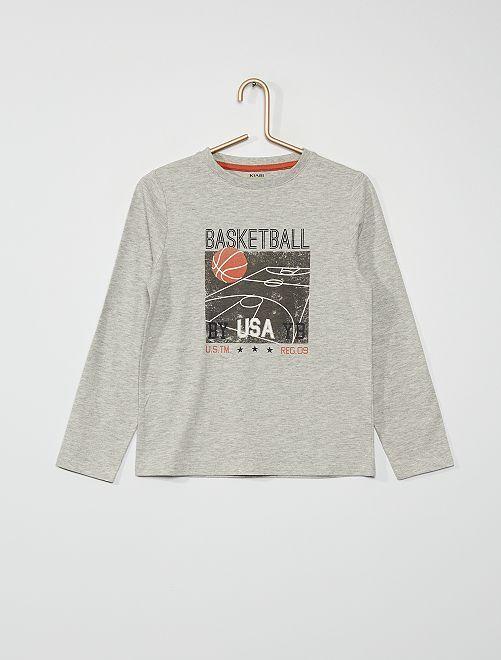 T-shirt imprimé 'basket-ball'                                                                                                                                                                                                                             gris chiné basketball