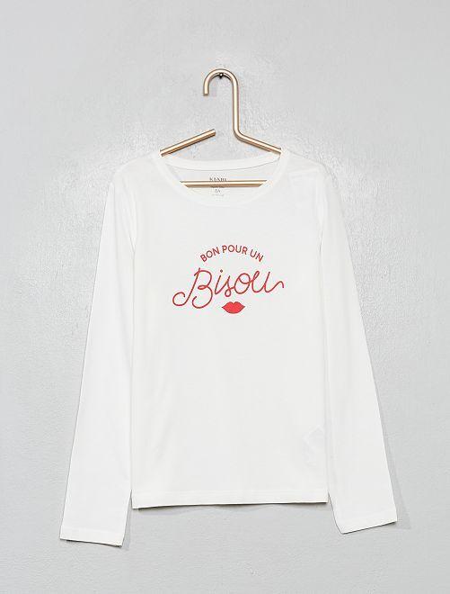 T-shirt imprimé bisous 'éco-conception'                                                                                                                                                                                         blanc bisou