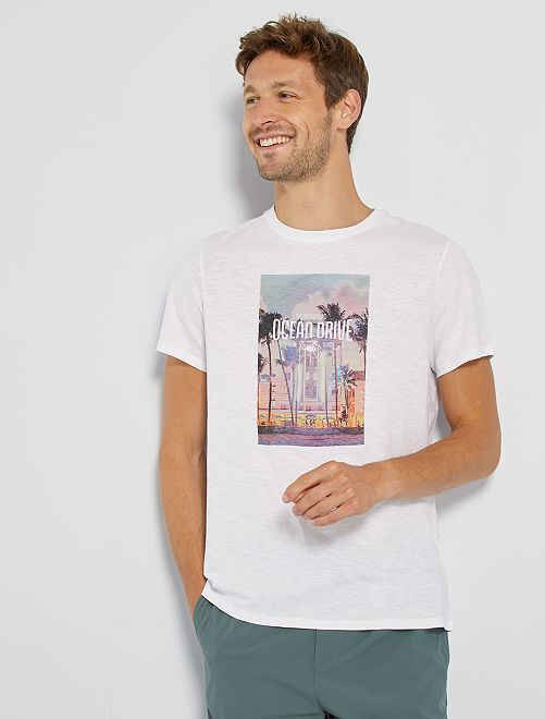 T-shirt imprimé                                                                                                                                                                             blanc ocean