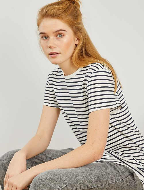 T-shirt imprimé                                                                                                                                                                                                                                                     blanc rayé