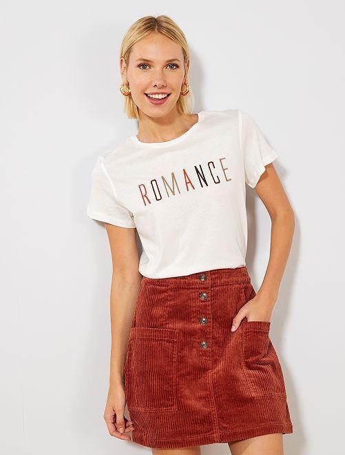 T-shirt imprimé                                         blanc romance