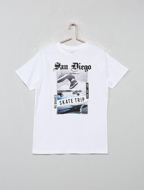 T-shirt imprimé                                                                 blanc skate