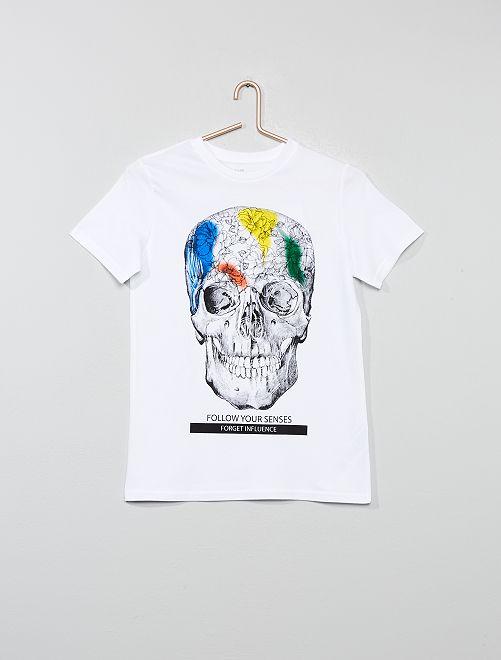 T-shirt imprimé                                                                                                                                         blanc tête Garçon adolescent