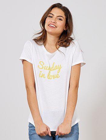 T Vêtements Imprimé FemmeBlanc Kiabi Shirt QdrtshxBC