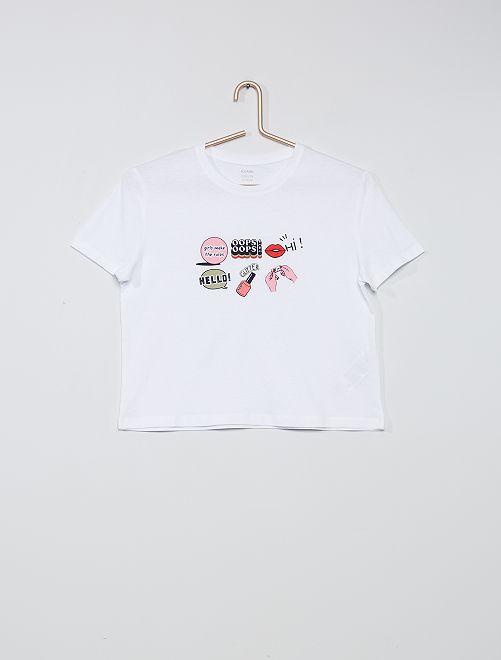 T-shirt imprimé                                                                 blanc/logos