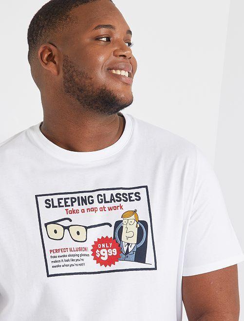 T-shirt imprimé                                                                                         blanc/lunettes