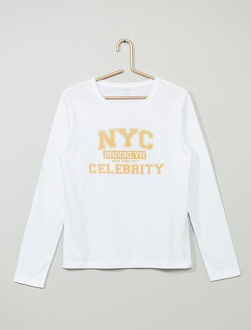 T-shirt imprimé                                                                                                                                         blanc/orange