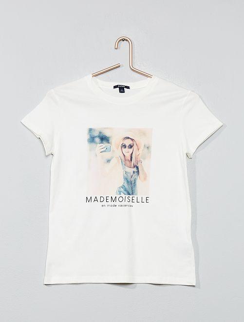 T-shirt imprimé                                                                                         blanc/photo Fille adolescente